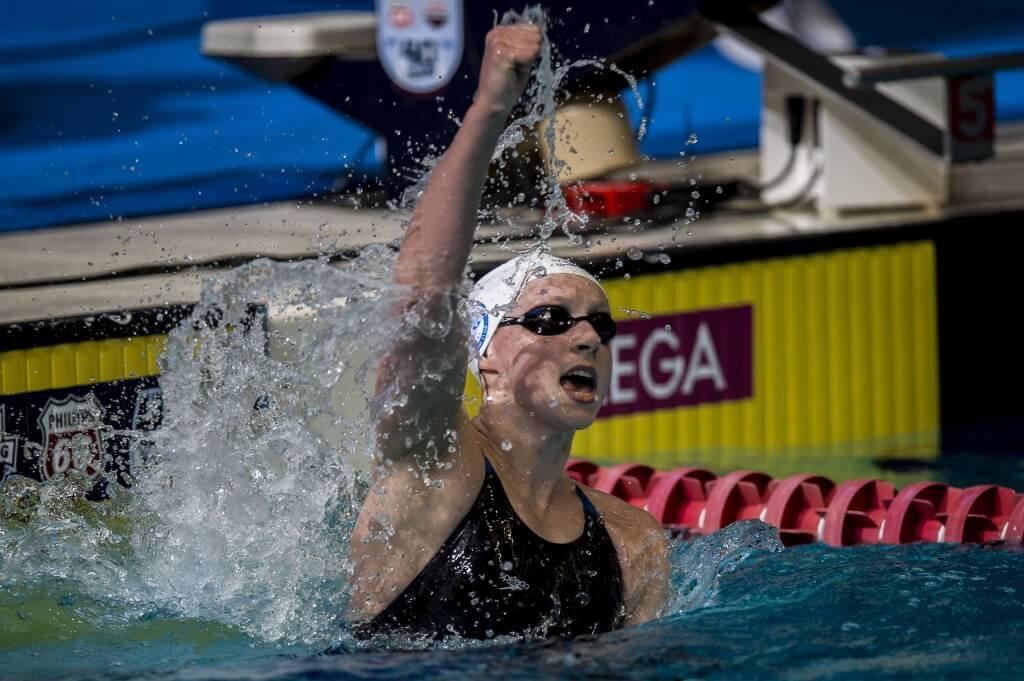 Katie Ledecky wins the 1500 freestyle.