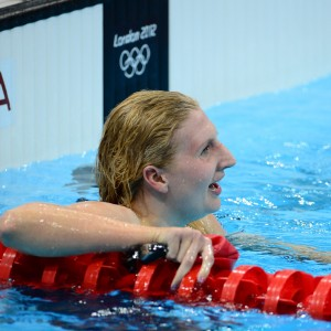 Jul 29, 2012; London, United Kingdom; Rebecca Adlington (GBR) celebrates after her bronze medal finish in the women's 400m freestyle finals during the London 2012 Olympic Games at Aquatics Centre. Mandatory Credit: Kyle Terada-USA TODAY Sports