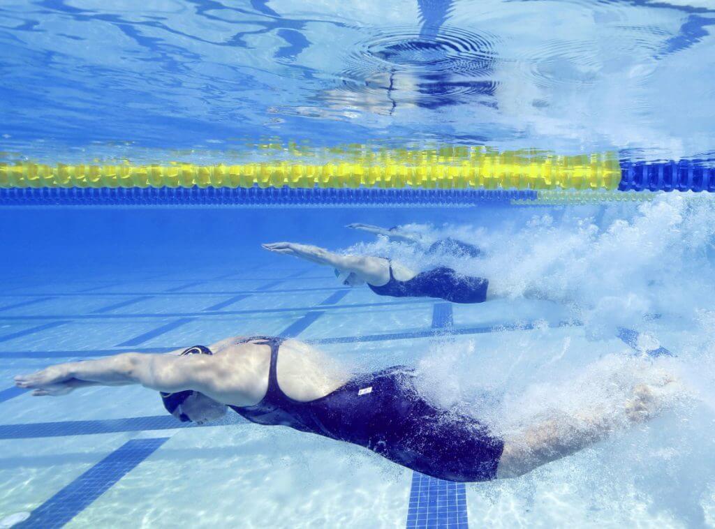 Jun 21, 2014; Santa Clara, CA, USA; Start of heat two of the Women's 50M Freestyle during the preliminary heats at George F. Haines International Aquatic Center. Mandatory Credit: Bob Stanton-USA TODAY Sports