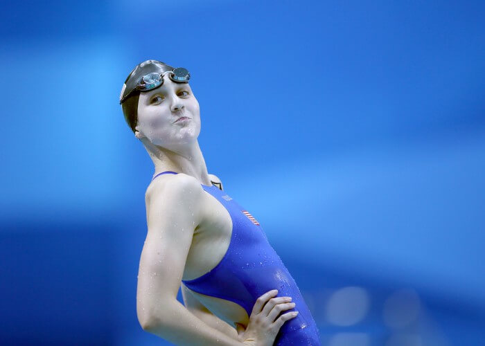 (140819) -- NANJING, Aug. 19, 2014 (Xinhua) -- Hannah Moore of United States of America reacts after winning women's 200m backstroke final event at the Nanjing 2014 Youth Olympic Games in Nanjing, east China's Jiangsu Province, Aug. 19, 2014. Moore shared the gold medal with Ambra Esposito of Italy. (Xinhua/Fei Maohua) (ljr)