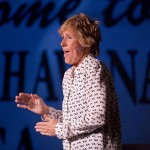"""Endurance swimmer Diana Nyad performs Thursday, Feb. 19, 2015, during her one-woman play that re-creates her 111-mile swim from Cuba to Key West in a Key West, Fla., theater near the beach where she concluded the record-setting feat in September 2013. """"Onward! The Diana Nyad Story,"""" written and performed live by Nyad, opened Thursday night at The Studios of Key West and continues there through Sunday, Feb. 22. FOR EDITORIAL USE ONLY (Rob O'Neal/Florida Keys News Bureau/HO)"""