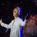 """Endurance swimmer Diana Nyad describes the inspiration she received from physicist Stephen Hawking Thursday, Feb. 19, 2015, to complete her 111-mile swim from Cuba to Key West in September 2013. Nyad's Key West, Fla., theater performance was staged near the beach where she concluded the record-setting feat. """"Onward! The Diana Nyad Story,"""" a one-woman show written and performed live by Nyad, opened Thursday night at The Studios of Key West and continues there through Sunday, Feb. 22. FOR EDITORIAL USE ONLY (Rob O'Neal/Florida Keys News Bureau/HO)"""