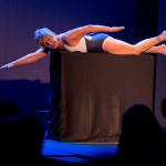 """Endurance swimmer Diana Nyad """"swims"""" Thursday, Feb. 19, 2015, during her one-woman play that re-creates her 111-mile Cuba-to-Key West swim in a Key West, Fla., theater near the beach where she concluded the record-setting feat in September 2013. """"Onward! The Diana Nyad Story,"""" written and performed live by Nyad, opened Thursday night at The Studios of Key West and continues there through Sunday, Feb. 22. FOR EDITORIAL USE ONLY (Rob O'Neal/Florida Keys News Bureau/HO)"""