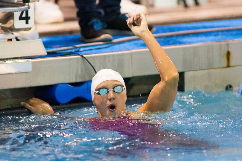 May 15, 2015; Charlotte, NC, USA; Katinka Hosszu celebrates after winning the 200 LC Meter Freestyle during the finals at the Mecklenburg County Aquatic Center. Mandatory Credit: Jeremy Brevard-USA TODAY Sports