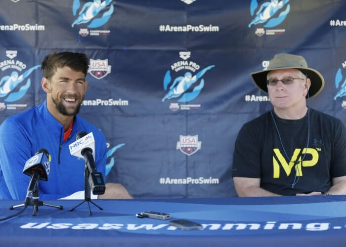 Jun 18, 2015; Santa Clara, CA, USA; Michael Phelps (USA) on left, and Bob Bowman head swimming coach of the Arizona State Sun Devils, answer questions during the morning press conference on day one of the Arena Pro Series at Santa Clara, at the George F. Haines International Swim Center in Santa Clara, Calif. Mandatory Credit: Bob Stanton-USA TODAY Sports