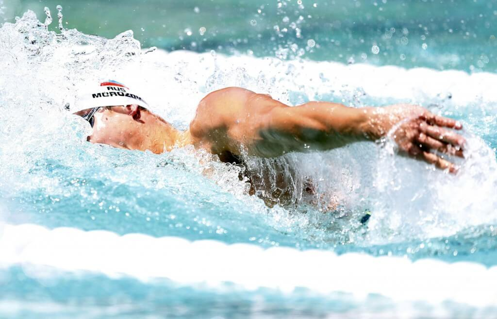 Jun 21, 2015; Santa Clara, CA, USA; Vlad Morozov (RUS) qualified second in the prelims of the Men's 100M Freestyle during the morning session of day four at the George F. Haines International Swim Center in Santa Clara, Calif. Mandatory Credit: Bob Stanton-USA TODAY Sports
