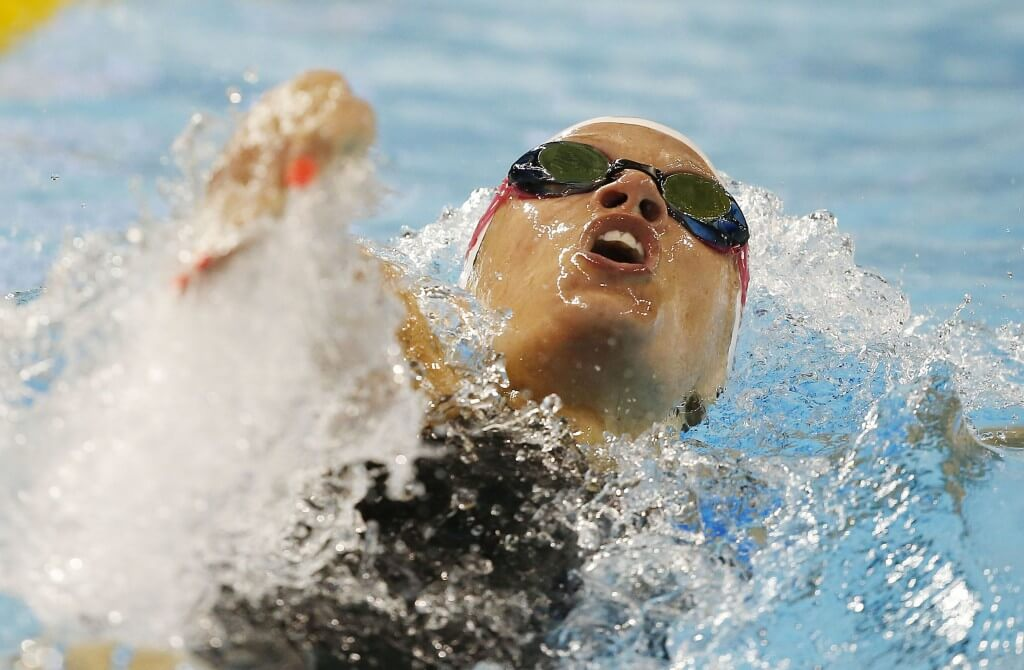 Jul 15, 2015; Toronto, Ontario, CAN; Hilary Caldwell of Canada competes in the women's 200m backstroke preliminary heat during the 2015 Pan Am Games at Pan Am Aquatics UTS Centre and Field House. Mandatory Credit: Erich Schlegel-USA TODAY Sports