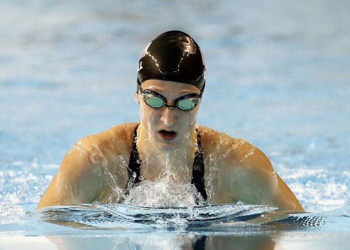 Jul 15, 2015; Toronto, Ontario, CAN; Meghan Small of the United States in the women's 200m breaststroke final b during the 2015 Pan Am Games at Pan Am Aquatics UTS Centre and Field House. Mandatory Credit: Rob Schumacher-USA TODAY Sports