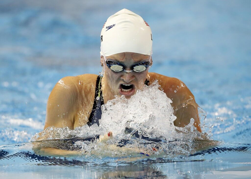 Jul 15, 2015; Toronto, Ontario, CAN; Annie Lazor of the United States competes in the women's 200m breaststroke preliminary heat during the 2015 Pan Am Games at Pan Am Aquatics UTS Centre and Field House. Mandatory Credit: Erich Schlegel-USA TODAY Sports