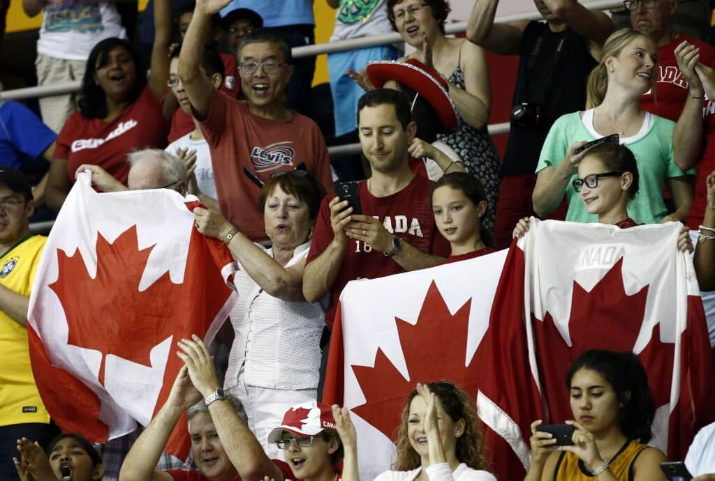 Jul 18, 2015; Toronto, Ontario, CAN; Fans of Canada cheer during the swimming competition during the 2015 Pan Am Games at Pan Am Aquatics UTS Centre and Field House. Mandatory Credit: Rob Schumacher-USA TODAY Sports
