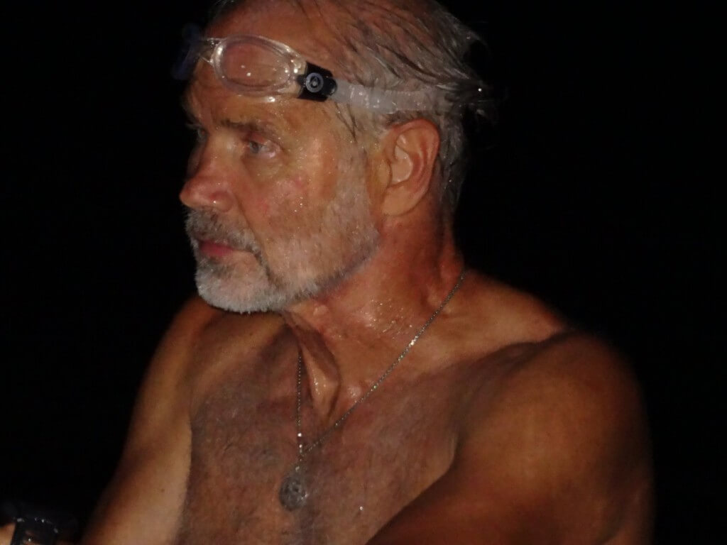 Bill Welzein about to start his swim across the Sea of Galilee