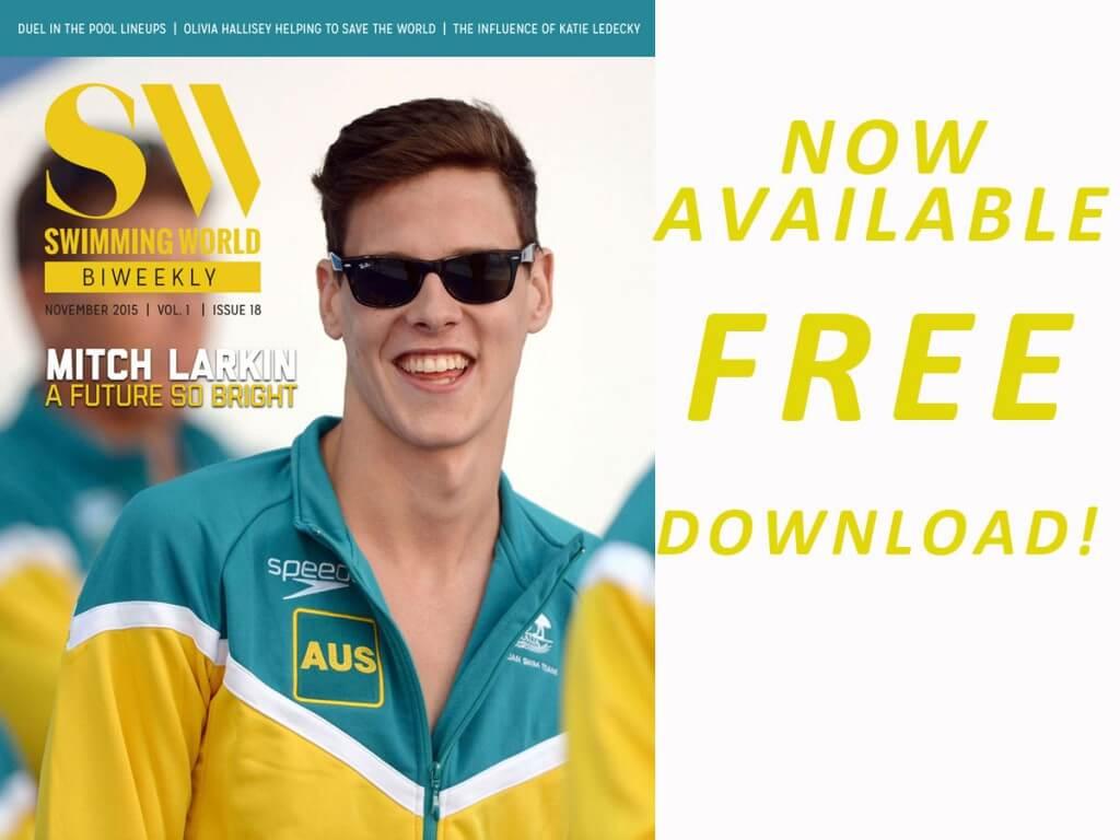 Mitch Larkin cover Swimming World Biweekly