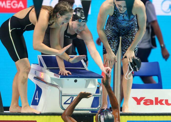 fina world championships, kathleen-baker-lilly-king-kelsi-worrell-simone-manuel-usa-champions-4x100-relay-2017-world-champs