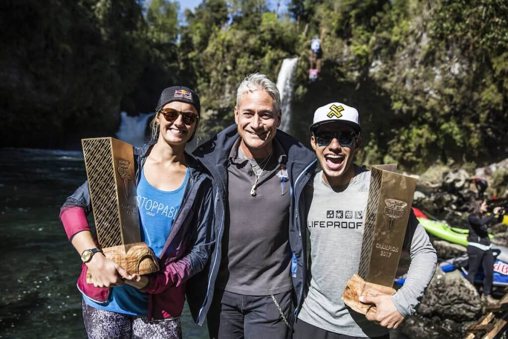 Rhiannan Iffland of Australia, Greg Louganis and Jonathan Paredes of Mexico with their overall series trophy for 2017 after the sixth and final stop of the Red Bull Cliff Diving World Series at Rininahue waterfall, Lago Ranco, Chile on October 21, 2017. // Romina Amato/Red Bull Content Pool // P-20171022-00174 // Usage for editorial use only // Please go to www.redbullcontentpool.com for further information. //
