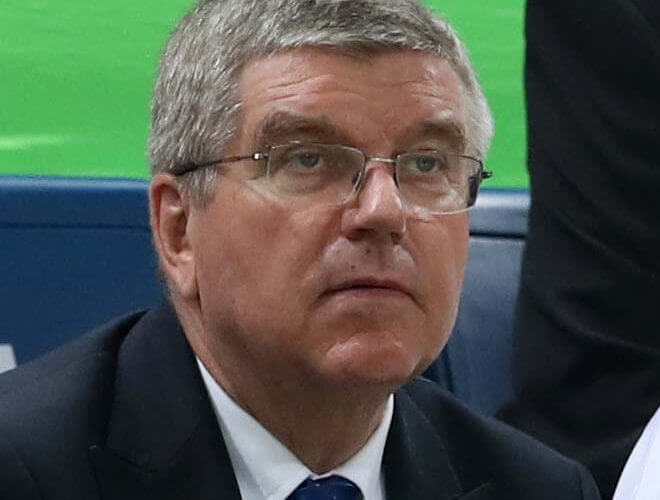 Aug 17, 2016; Rio de Janeiro, Brazil; IOC president Thomas Bach during the men's basketball quarterfinals in the Rio 2016 Summer Olympic Games at Carioca Arena 1. Mandatory Credit: Jeff Swinger-USA TODAY Sports