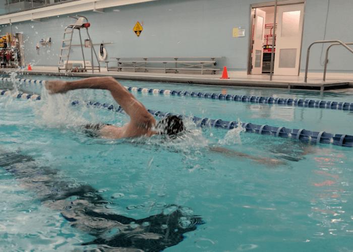 Hodding swimming