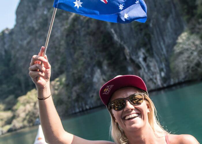 Rhiannan Iffland of Australia celebrates after winning at the Big Lagoon on Miniloc Island during the final competition day of the first stop of the Red Bull Cliff Diving World Series in Palawan, Philippines on April 13, 2019. // Romina Amato/Red Bull Content Pool // AP-1Z14QFE1H1W11 // Usage for editorial use only // Please go to www.redbullcontentpool.com for further information. //