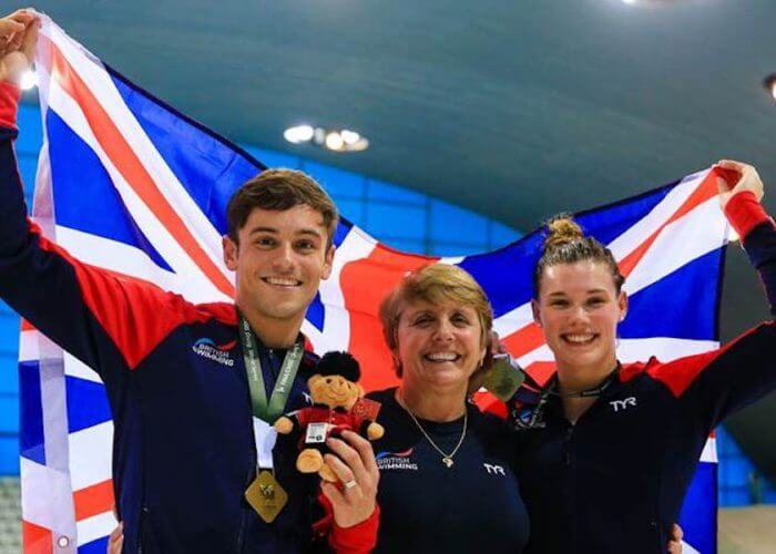 Tom Daley and Grace Reid after winning 3mtr Synchro in London
