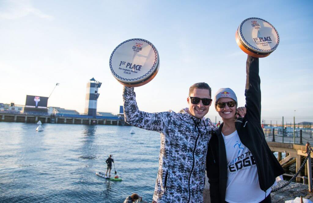 The winners Constantin Popovici of Romania and Rhiannan Iffland of Australia celebrate at Dun Laoghaire Harbour after the second stop of the Red Bull Cliff Diving World Series in Dublin, Ireland on May 12, 2019. // Romina Amato/Red Bull Content Pool // AP-1ZAK7RHCN2111 // Usage for editorial use only // Please go to www.redbullcontentpool.com for further information. //