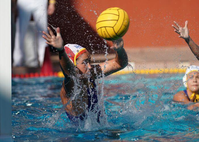 May 11, 2019; Avery Aquatic Center, Palo Alto, CA, USA; Collegiate Women's Water Polo: NCAA Semi Finals: UCLA Bruins vs Stanford Cardinals; UCLA Goalkeeper Carlee Kapana with a save Photo credit: Catharyn Hayne