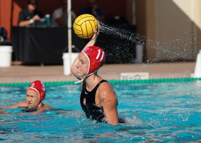May 11, 2019; Avery Aquatic Center, Palo Alto, CA, USA; Collegiate Women's Water Polo: NCAA Semi Finals: UCLA Bruins vs Stanford Cardinals; Stanford Driver Makenzie Fischer takes a 5 meter Photo credit: Catharyn Hayne
