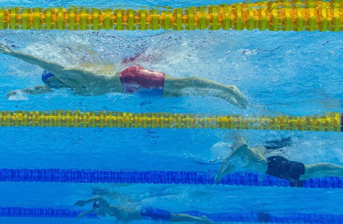 Anton Chupkov of Russia (top) on his way to a New World Record in the men's 200m Breaststroke Final during the Swimming events at the Gwangju 2019 FINA World Championships, Gwangju, South Korea, 26 July 2019.