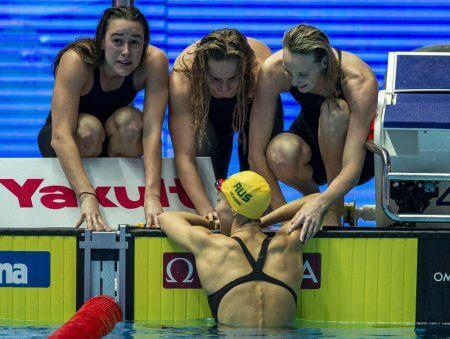 Team Australia celebrates after winning in the women's 4x200m Freestyle Relay Final during the Swimming events at the Gwangju 2019 FINA World Championships, Gwangju, South Korea, 25 July 2019.