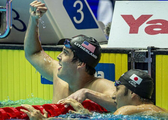 Second placed Jay Litherland of the United States of America (USA) (L) and winner Daiya Seto of Japan react after competing in the men's 400m Individual Medley (IM) Final during the Swimming events at the Gwangju 2019 FINA World Championships, Gwangju, South Korea, 28 July 2019.