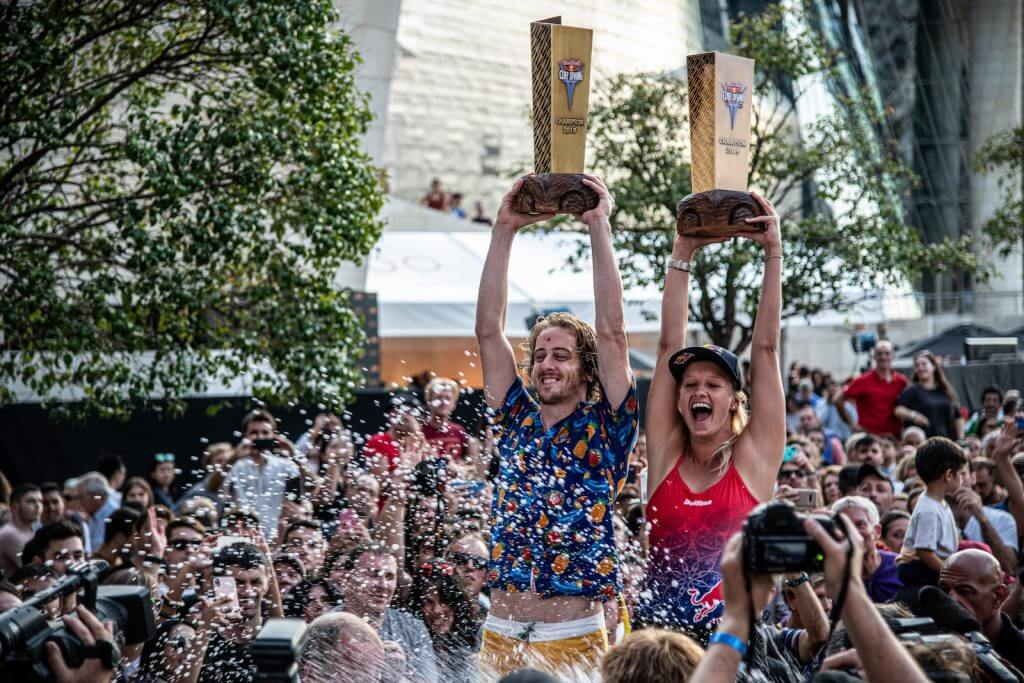 Overall World Series winners 2019, Gary Hunt (L) of the UK and Rhiannan Iffland of Australia celebrate on the podium with the King Kahekili tropies during the final competition day of the seventh and final stop of the Red Bull Cliff Diving World Series in Bilbao Spain on September 14, 2019. // Dean Treml/Red Bull Content Pool // AP-21JTEATTD2111 // Usage for editorial use only //