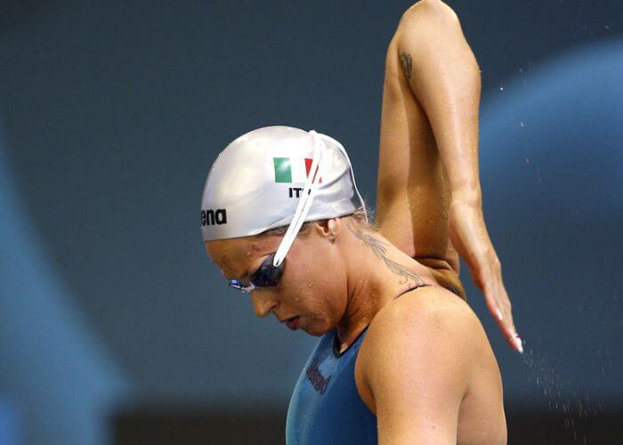 Federica PELLEGRINI of Italy prepares herself before competing in the women's 200m Freestyle Heats during the LEN European Swimming Championships at Europa-Sportpark in Berlin, Germany, Friday, Aug. 22, 2014. (Photo by Patrick B. Kraemer / MAGICPBK)
