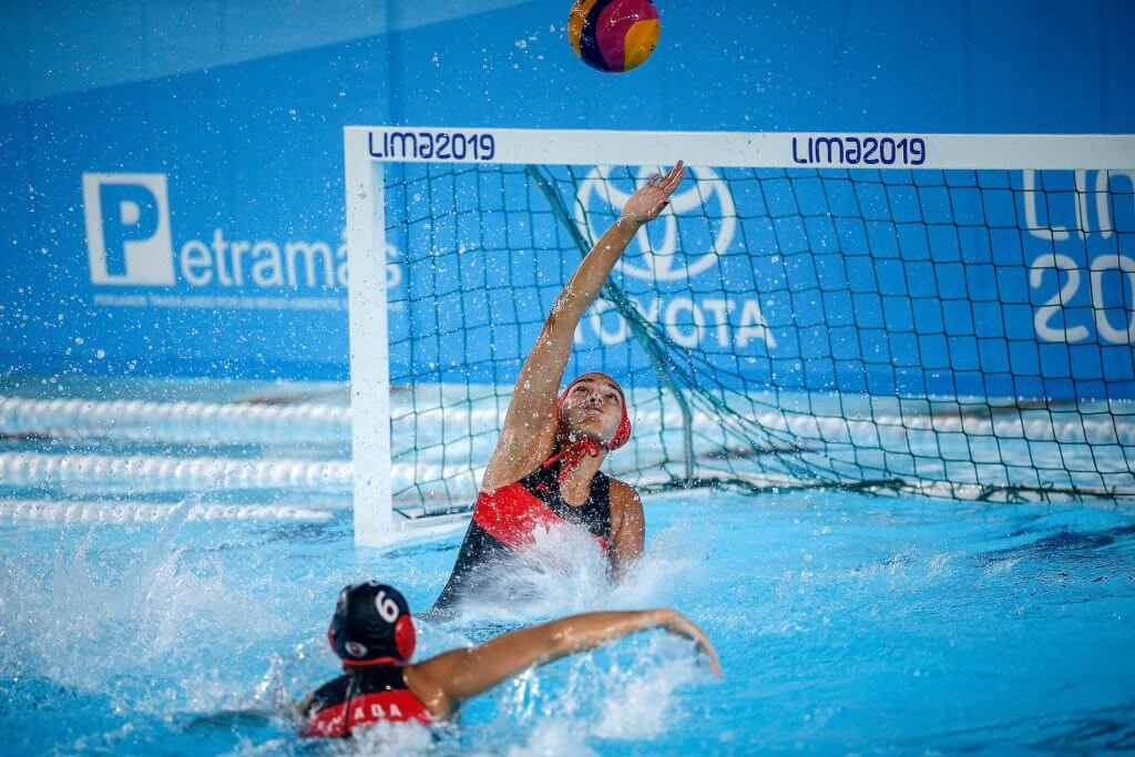 Lima, Sunday August 04, 2019 - Canada 's players compete during the Women's Water Polo Group Phase match against Cuba at Villa Maria del Triunfo at Pan American Games Lima 2019. Copyright Cristiane Mattos / Lima 2019 Mandatory credits: Lima 2019 ** NO SALES ** NO ARCHIVES **