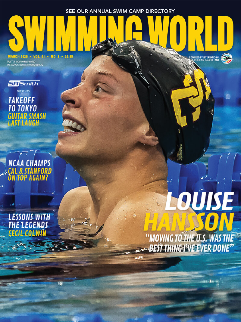Swimming World March 2020 Cover - Louise Hansson