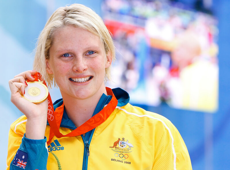 Leisel JONES of Australia poses with her gold medal after winning in the women's 100m breaststroke final in the national aquatics center at the Beijing 2008 Olympic Games in Beijing, China, Sunday, April 6, 2008. (Photo by Patrick B. Kraemer / MAGICPBK)