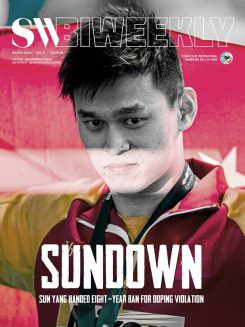 SW Biweekly 3-7-20 Cover - Sun Down - Sun Yang Handed Eight Year Ban For Doping Violation