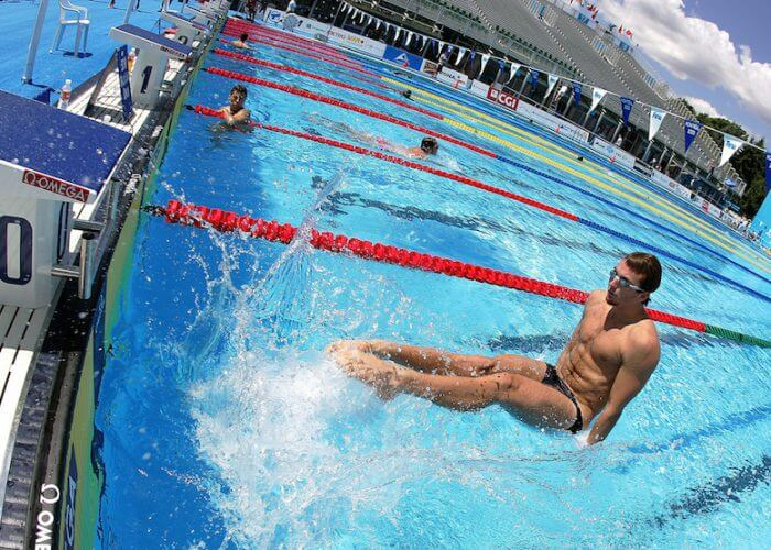 USA's Aaron Peirsol works on starts during practice at the FINA World Championships in Montreal, Quebec Saturday 23 July, 2005. Swimming competion begins Sunday 24 July 2005. (Photo by Patrick B. Kraemer / MAGICPBK)