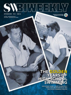 SW Biweekly Cover 9-21-20 The Golden Years of High School Swimming - George Haines and Mark Schubert - Santa Clara and Mission Viejo