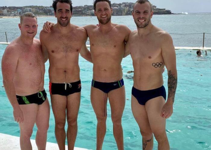 Kyle Chalmers with Jarrtod Poort, Matt Abood and David McKeon