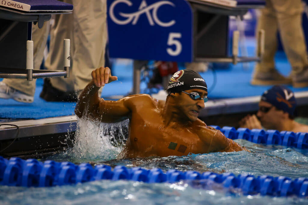 Florida State swimmer during 100 Breaststroke during the 2021 ACC Men's Swimming Championship in Greensboro, N.C. Friday, Feb. 26, 2021 (Photo by Jaylynn Nash, the ACC)