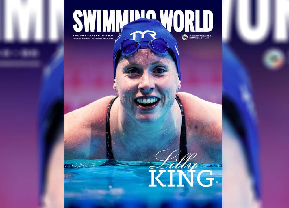Swimming World April 2021 - Pre-Order cover teaser April 2021 - Lilly King - Slider