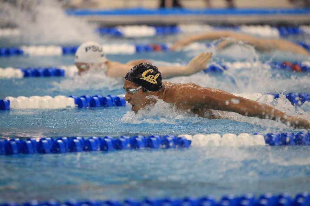 cal-hugo-gonzalez-GREENSBORO, NC - MARCH 26: Swimmers compete during the Prelims of the Division I Men's Swimming & Diving Championships held at the Greensboro Aquatic Center on March 26, 2021 in Greensboro, North Carolina. (Photo by Carlos Morales/NCAA Photos via Getty Images)