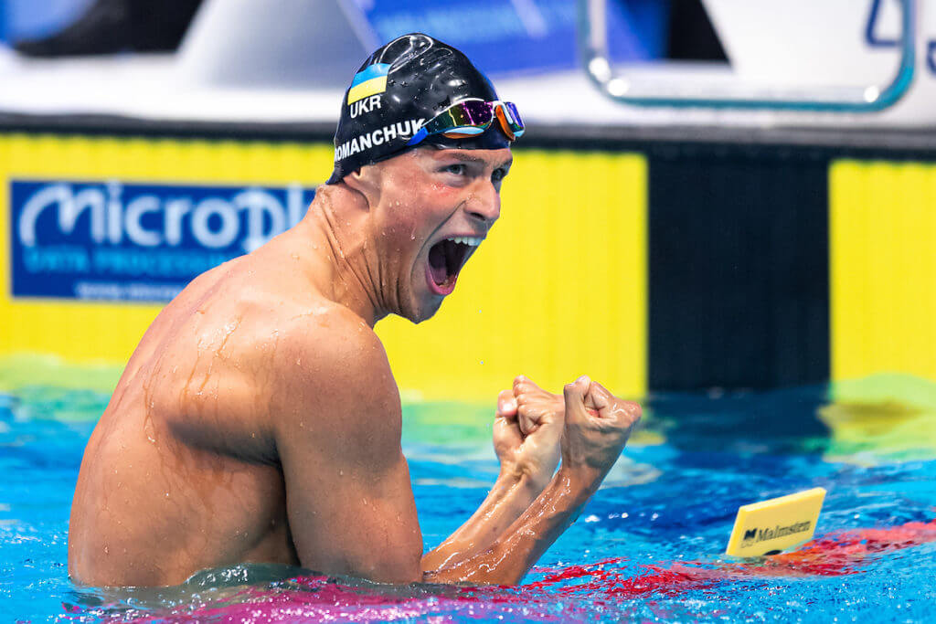 Celebrating Gold Medal ROMANCHUKMykhaylo UKR 800m Freestyle Men Final Swimming Budapest - Hungary 22/5/2021 Duna Arena XXXV LEN European Aquatic Championships Photo Giorgio Scala / Deepbluemedia / Insidefoto