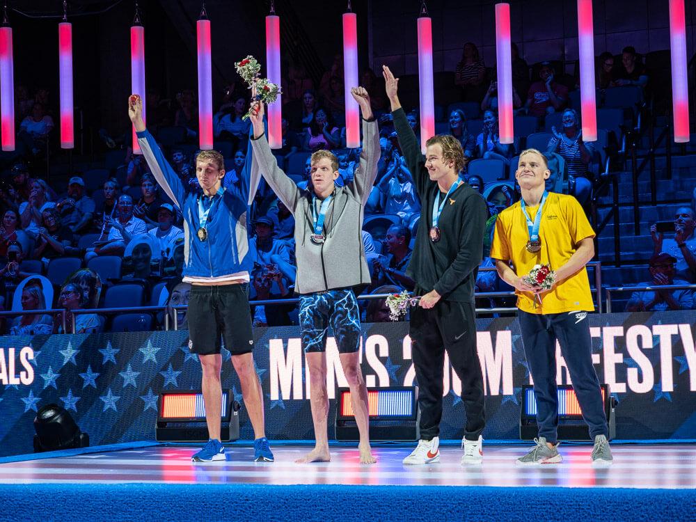 200-free-medals, kieran smith, townley haas, andrew seliskar, drew kibler, men's 800 free relay