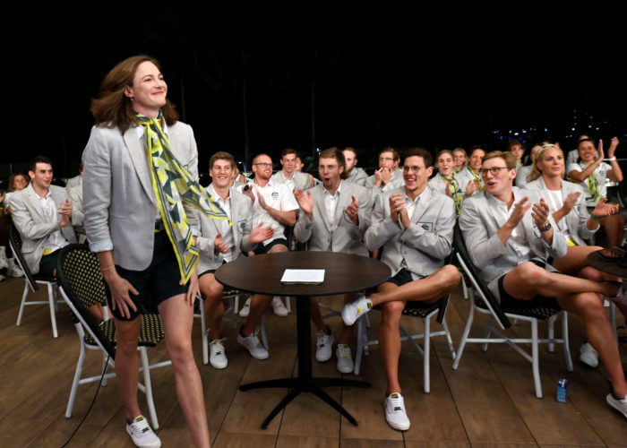 The Australian Swimming team cheer the Cate Campbell announcement. Swimming team celebrations of the announcement of Cate Campbell as flagbearer for the Australian Olympic Team at Tokyo2020 Olympic Games. Cairns Australia, July 7 2021. EDITORIAL USE ONLY. Photo by Delly Carr. Pic Credit Mandatory for free usage. Thank you.