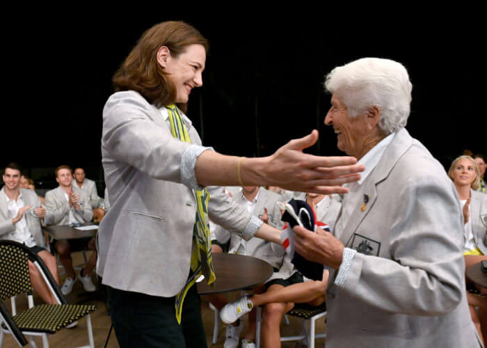 Cate Campbell and Dawn Fraser. Swimming team celebrations of the announcement of Cate Campbell as flagbearer for the Australian Olympic Team at Tokyo2020 Olympic Games. Cairns Australia, July 7 2021. EDITORIAL USE ONLY. Photo by Delly Carr. Pic Credit Mandatory for free usage. Thank you.
