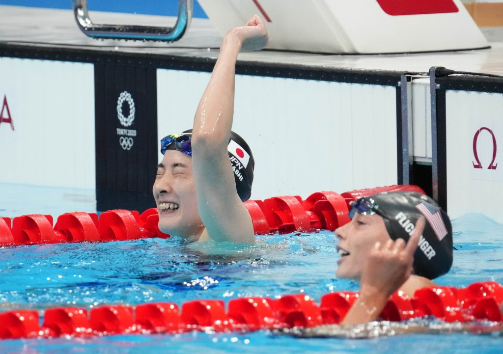 Jul 25, 2021; Tokyo, Japan; Yui Ohashi (JPN) celebrate after winning the women's 400m individual medley final during the Tokyo 2020 Olympic Summer Games at Tokyo Aquatics Centre. Mandatory Credit: Robert Hanashiro-USA TODAY Network