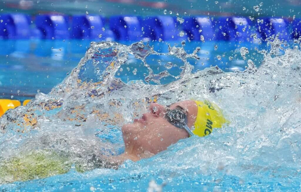 Jul 25, 2021; Tokyo, Japan; Kaylee McKeown (AUS) in the women's 100m backstroke heats during the Tokyo 2020 Olympic Summer Games at Tokyo Aquatics Centre. Mandatory Credit: Robert Hanashiro-USA TODAY Sports