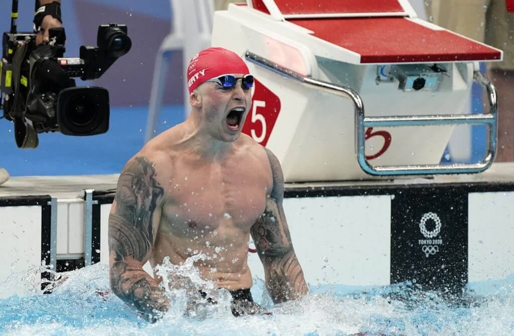 Jul 26, 2021; Tokyo, Japan; Adam Peaty (GBR) celebrates after winning the men's 100m breaststroke final during the Tokyo 2020 Olympic Summer Games at Tokyo Aquatics Centre. Mandatory Credit: Rob Schumacher-USA TODAY Sports