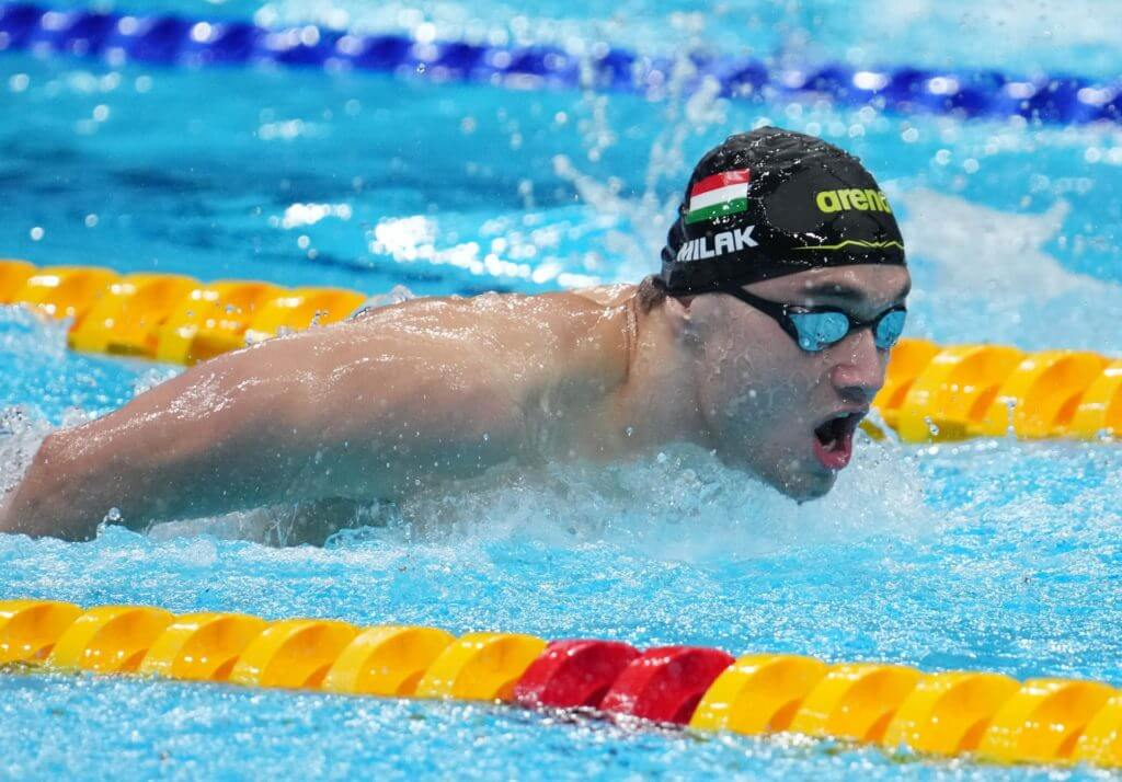 Jul 26, 2021; Tokyo, Japan; Kristof Milak (HUN) in the men's 200m butterfly heats during the Tokyo 2020 Olympic Summer Games at Tokyo Aquatics Centre. Mandatory Credit: Robert Hanashiro-USA TODAY Sports