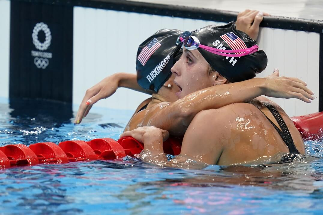 Jul 29, 2021; Tokyo, Japan; Hali Flickinger (USA), left, and Regan Smith (USA) embrace after finishing third and second respectively in the women's 200m butterfly final during the Tokyo 2020 Olympic Summer Games at Tokyo Aquatics Centre. Mandatory Credit: Grace Hollars-USA TODAY Sports
