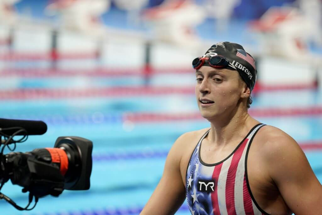 Jul 29, 2021; Tokyo, Japan; Katie Ledecky (USA) walks poolside after finishing second in the women's 4x200m freestyle relay during the Tokyo 2020 Olympic Summer Games at Tokyo Aquatics Centre. Mandatory Credit: Grace Hollars-USA TODAY Sports